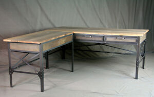 vintage industrial l shaped desk wood desk with return rustic rh ebay com rustic wood desk designs rustic wood desk diy