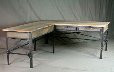 Vintage Industrial L Shaped Desk Wood Desk With Return Rustic Office Furniture Ebay