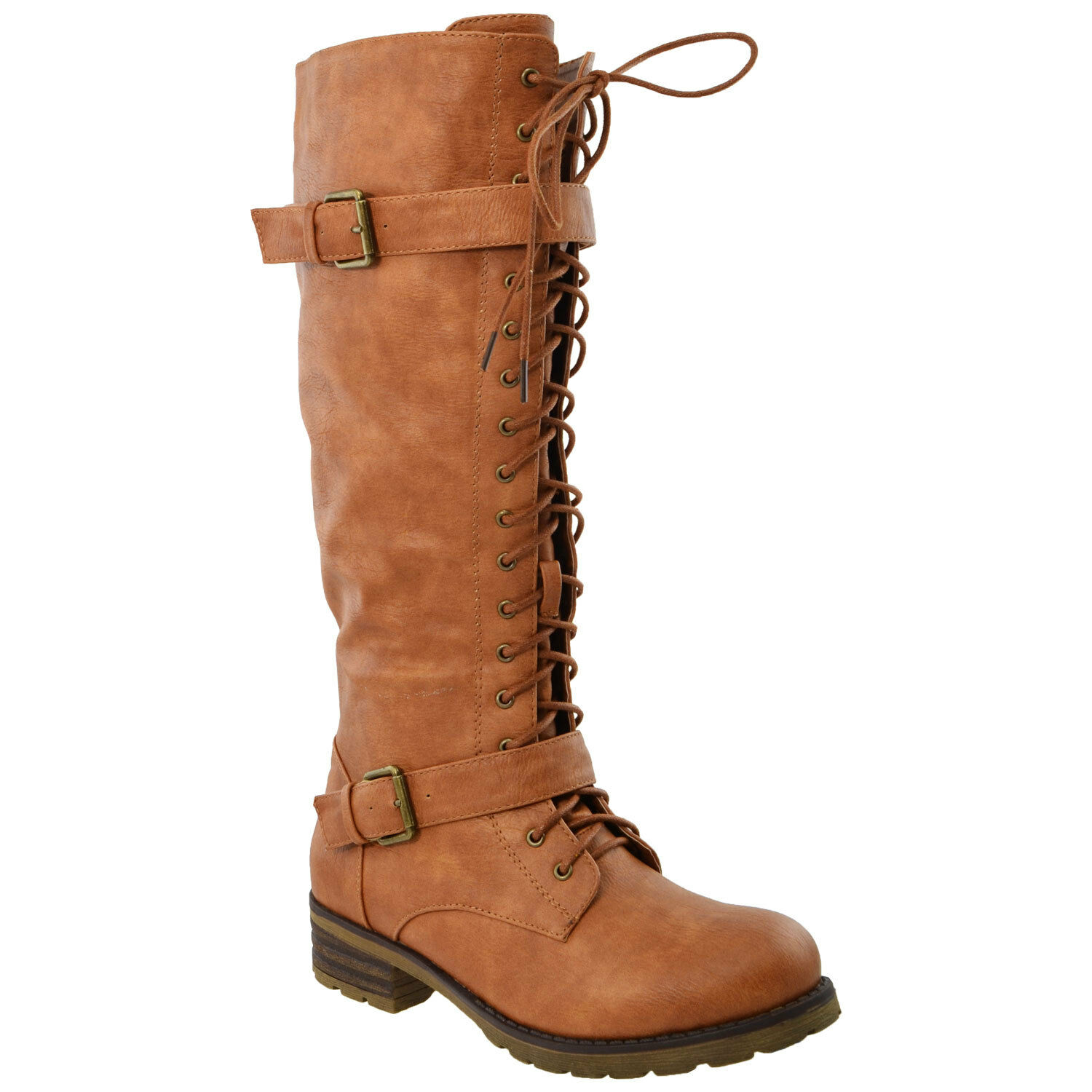 Womens Knee High Boots Lace Up Combat Leather Buckle Straps shoes Tan