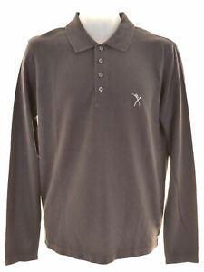 Calvin-Klein-Homme-Polo-Shirt-a-Manches-Longues-moyen-coton-bleu-marine-FO35