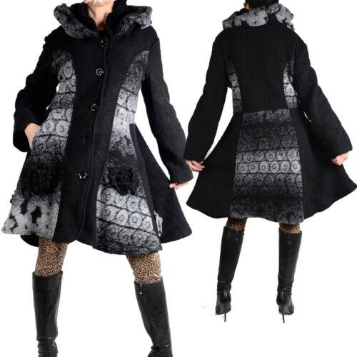 Femmes Superposé Laine Manteau Trench Coat 38 40 42 44 46 48 M L XL XXL Patchwork