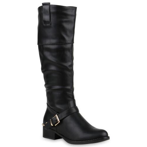 Damen Reiterstiefel Schnallen Metallic Leder-Optik Stiefel 812440 Top
