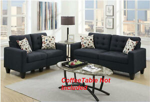 New Black Sofa Set Sofa Couch Loveseat 2pc set Linen Like Cushioned Fabric Home