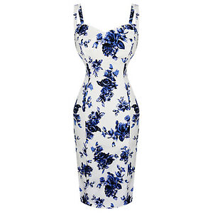 Hearts-amp-Roses-London-Blue-White-Floral-Vintage-1950s-Retro-Pencil-Wiggle-Dress