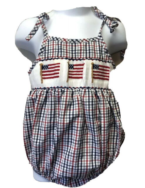 Petit Bebe Anavini Boys Smocked Flag Shortall Outfit July 4th Clothing