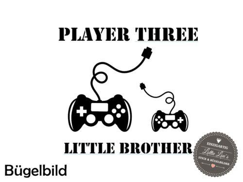 Bügelbild Player One Großer Bruder  XXL Wunschfarbe Flex Glitzer Flock