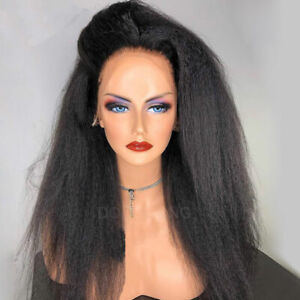 Yaki-Kinky-Straight-Indian-Remy-Human-Hair-Wig-360-Lace-Frontal-Full-Wigs-Thick