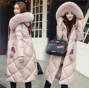 New-Fur-Collar-Hooded-Coat-Quilted-Jacket-Winter-Women-039-s-long-Down-Cotton-Parka