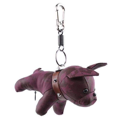 French Bulldog Keychain Faux PU Leather Charm Dog Keyring Key Bag Accessories FM