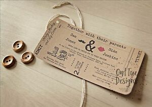 Image Is Loading Vintage Rustic Craft Ticket Style Wedding Invitations Stationery