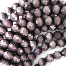 """8mm faceted fiber optic cats eye round beads 14.5"""" strand purple"""