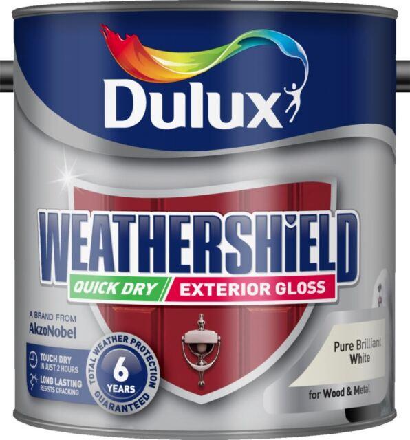 Dulux Weathershield Quick Dry Exterior Gloss 2.5L Pure Brilliant White Paint