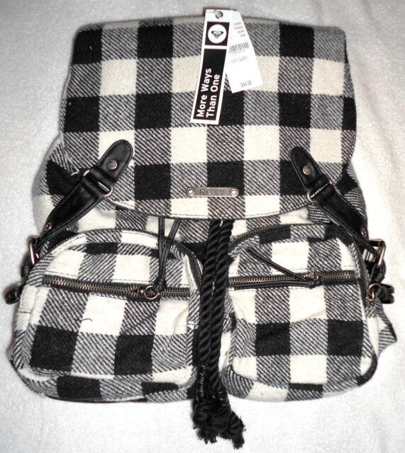 54083b82557e ROXY SALUTE PLAID BACKPACK Purse Handbag Bag Checkered Black   White   ...
