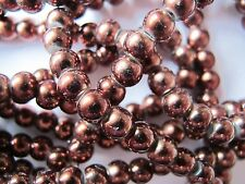 70 6mm dark brown glass pearl beads