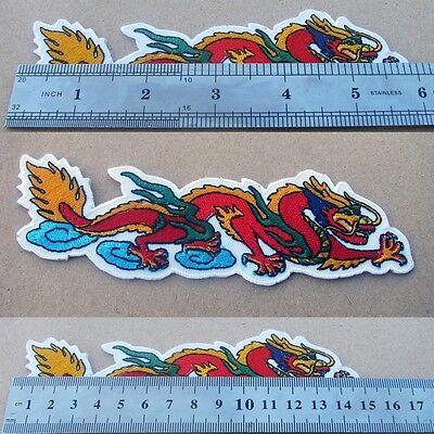 Asian Arts Dragon Embroidered Iron On Patch BIKER CHOPPER HARLEY Suzuki Ducati
