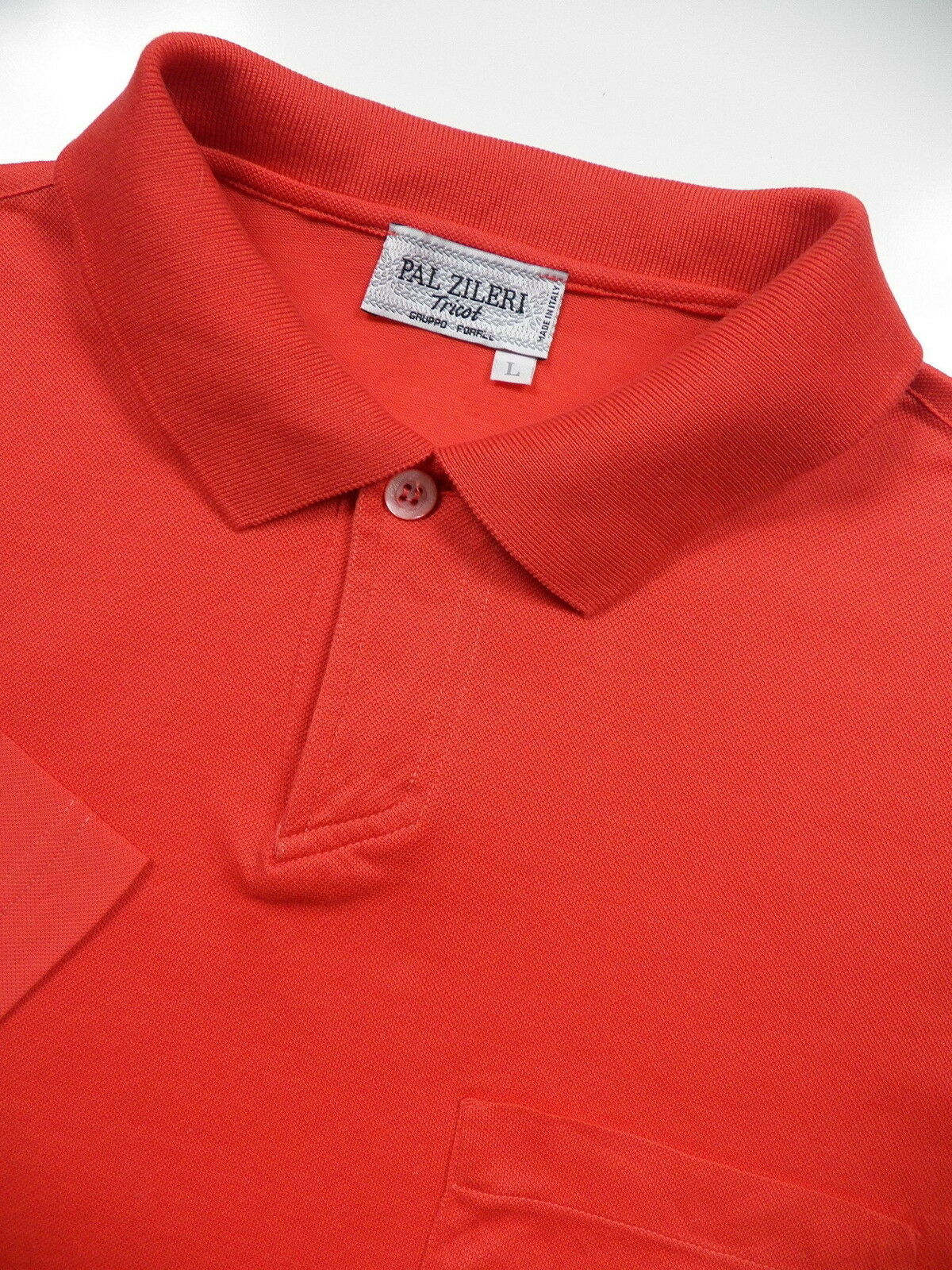 PAL ZILERI MENS LARGE LUXURY PIQUE POLO SHIRT STYLISH CORAL RED MADE IN ITALY