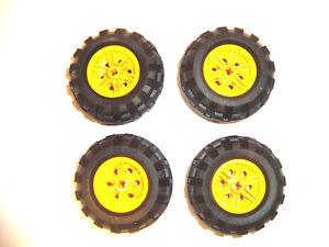 LEGO Technic Räder 4 Reifen 30.4 x 14 VR auf gelben Felgen