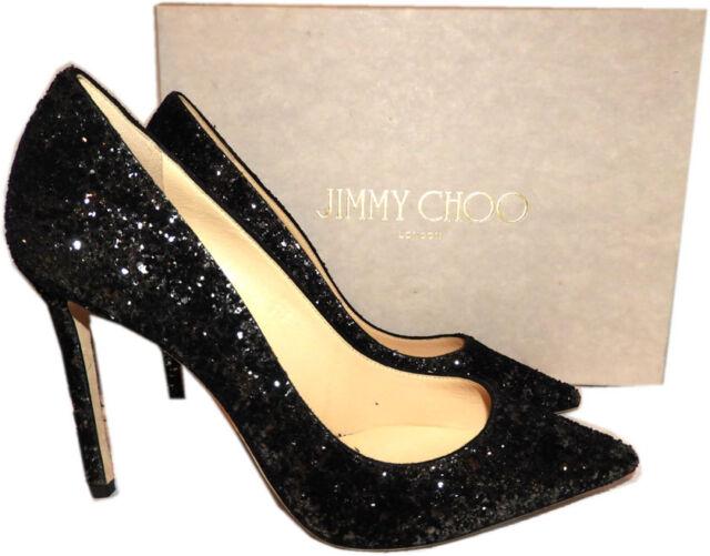 b938710120 Jimmy Choo Romy 100 Black Textured Glitter Pump HEELS 11 41 for sale ...