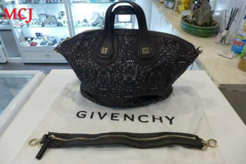 Preowned Givenchy Nightingale Perforated Black Coloured Leather