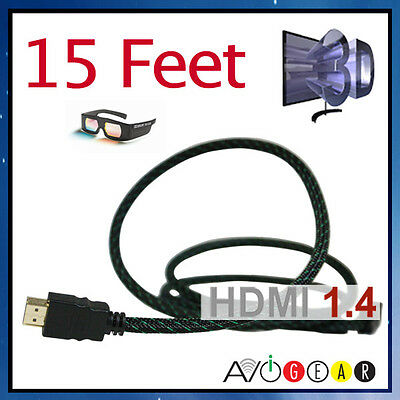 NEW 15 Feet HDMI 1.4 Cable High Speed Ethernet 3D ARC HDTV PS3 Apple TV 14 13