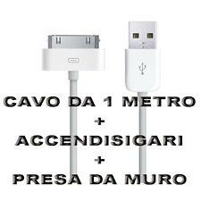 Kit Carica Batteria Auto Usb 30 Pin 1M Per Iphone 3G 3GS 4 4S Ipod Touch Ipad 2