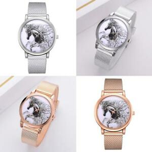 Fashion-Women-Mesh-Strap-Quartz-Sport-Watch-3D-Horse-Analog-Wristwatches-Casual
