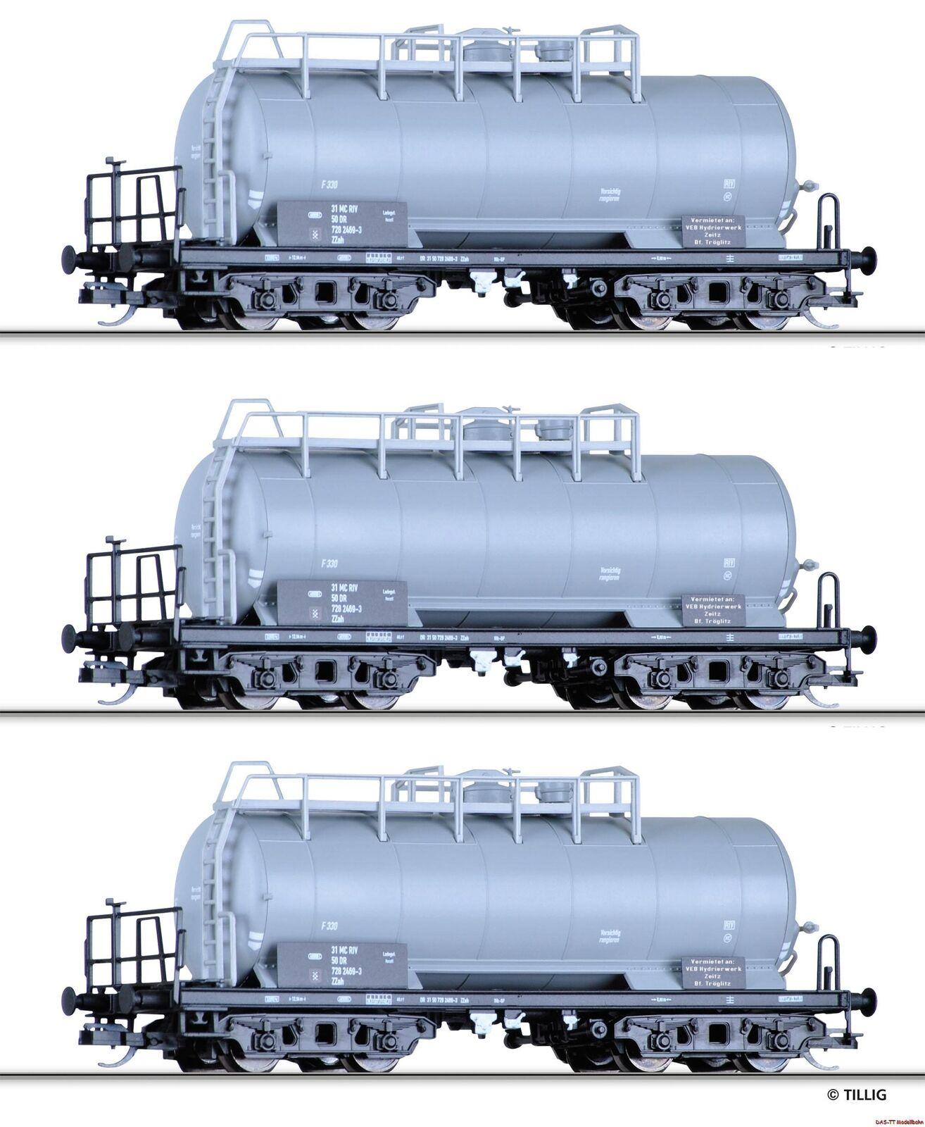 TT Wagenset CALDAIA 3 pezzi VEB hydrierwerk Zeitz DR Ep. IV Tillig 01792 NUOVO