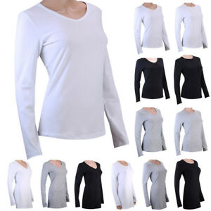 100% Cotton Womens Ladies Long Sleeve Plain T-Shirt Shirts Tops Blouse Basic Tee