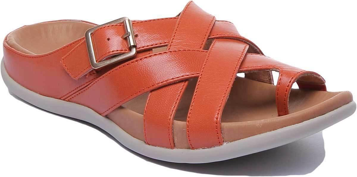 Strive Montauk kvinnor läder orange Gladiator Toe Post Sandaler UK Storlek 3 - 8