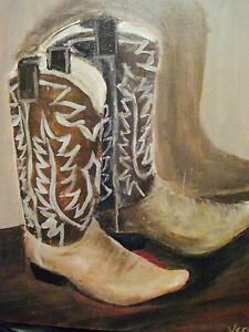 Old Faithfuls Cowboy Boots Veronica Hallum Texas Original Oil Painting 16x20 Ebay