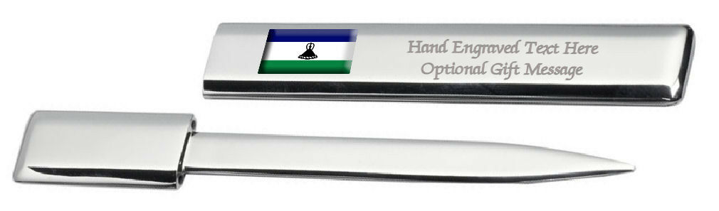 Lesotho Drapeau Engraved Post Lettre Bottle Opener Étui