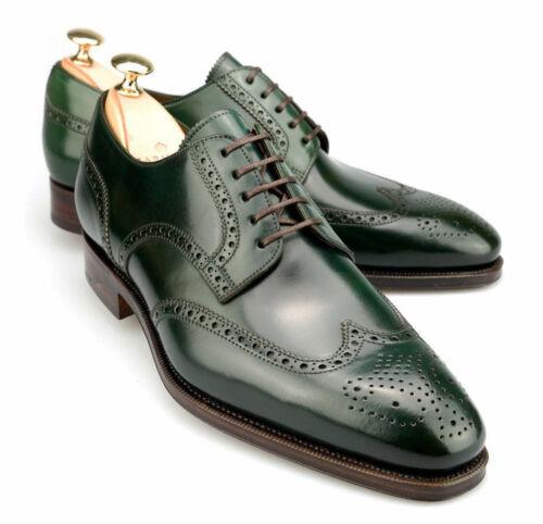 Handmade Men Green Wingtip brogue formal shoes Men brogue dress shoes Men shoes