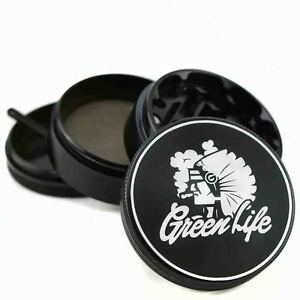 "Green Life Chiefin' BLK 2.5"" 4pc Muller Herb Tobacco Grinder Crusher Sharpstone"