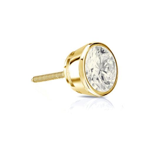 0.25 Ct 14k or Jaune Round Cut Diamond Bezel Screwback Unique Boucle d/'oreille à Clous Pour