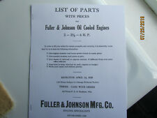 1925 Fuller Amp Johnson Oil Cooled Gas Engine Parts Manual 2hp To 6hp