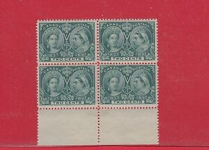 #52 Jubilee 1897 issue block of 4 Catalogue $300 for three stamps alone, Canada