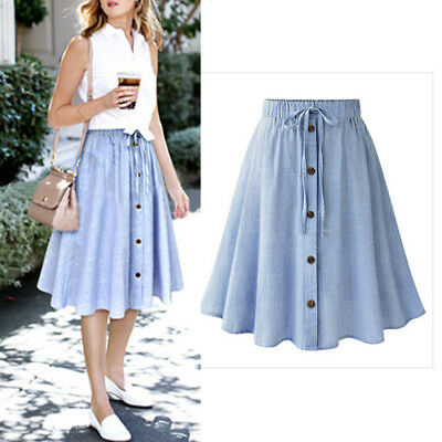 Womens Transparent Clear Skirts Single-Breasted Soft Vinyl PVC High Waist Skirts