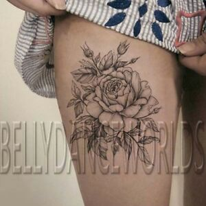 Highly Realistic Rose Flower Sketch Drawing Temporary Tattoo Thigh