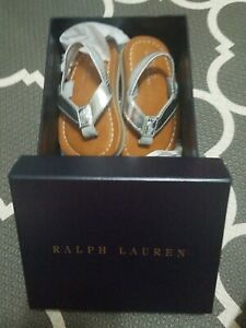 Polo-Ralph-Lauren-Toddler-Size-3-Silver-metallic-flip-flops-New-in-box