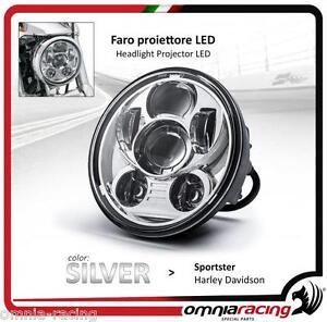 Faro-LED-Silver-Omologato-5-75-034-Harley-Sportster-883-1200-Headlight-Front-LED