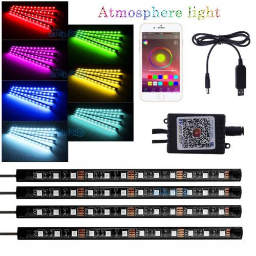16 Color RGB LED Neon Strip Music Smart APP Control For Car Interior Light Kit