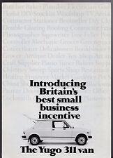 Yugo 311 Van Mid 1980s UK Market Foldout Sales Brochure