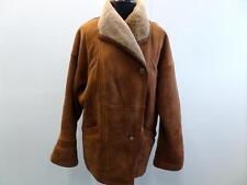 "VINTAGE ORIGINAL SHEARLING SHEEPSKIN COAT TAN BROWN 42"" GRADE B W668"