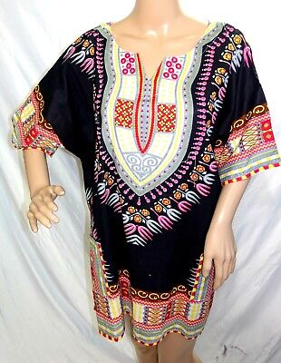 Bella Moda Women Plus Size 1x 2x 3x Black Pink Tie Dye Tunic Top Blouse Tassels