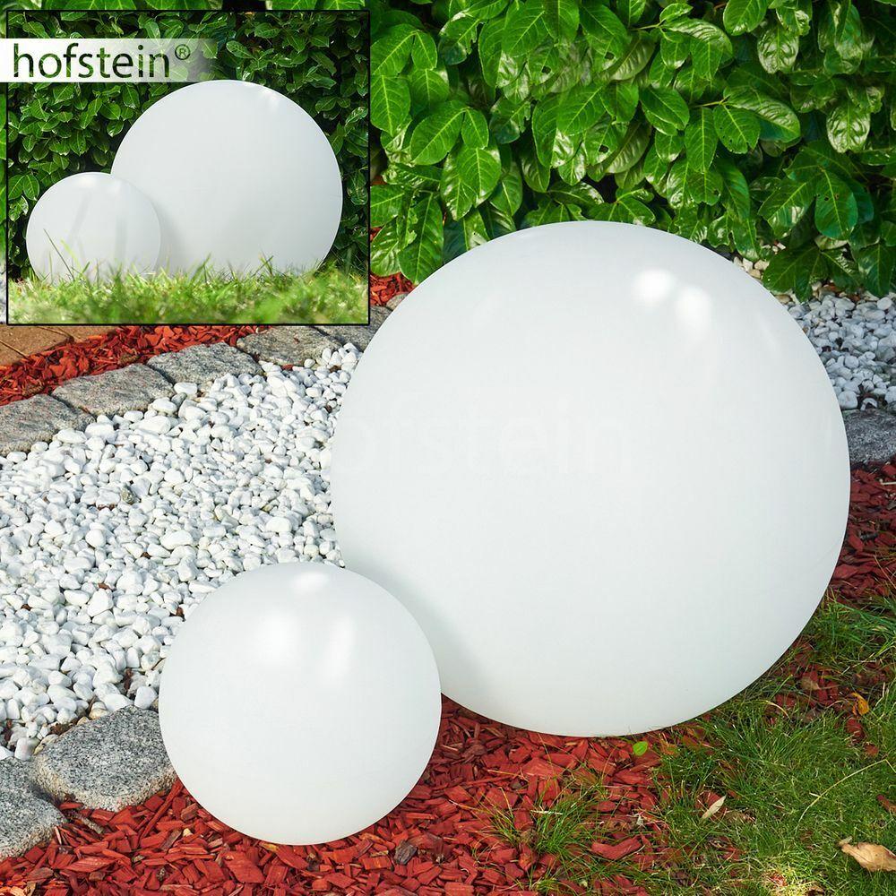 Aussen Steh Lampen Kugelleuchte 2er Set Wege Garten Beleuchtung Weiß 30 60 cm