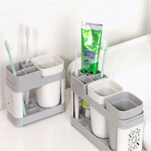 Family-Toothbrush-Holder-Stand-Set-Shelf-Home-Bathroom-Toothpaste-Storage-Rack