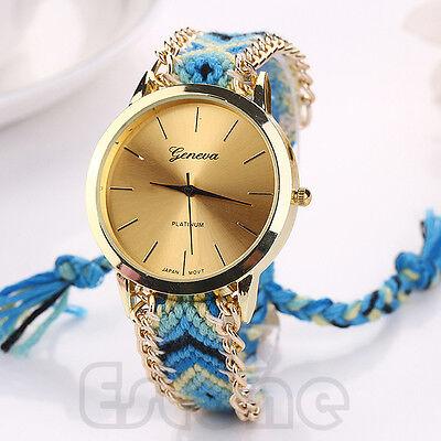 Fashion Women National Wind Braid Bracelet Round Dial Wrist Analog Watch