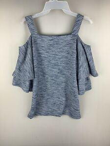 Chico's CHAMBRAY COLD-SHOULDER TOP Women Size 1