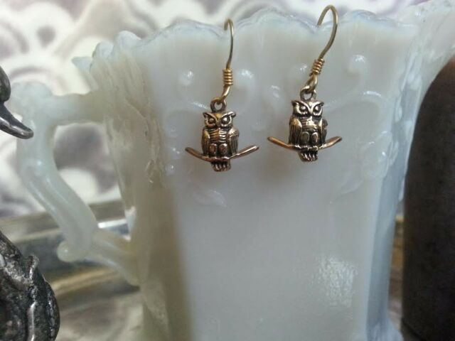 Hand Crafted Bronze Owl Earrings Beautiful