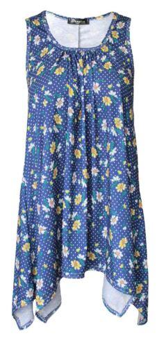 New Women Ladies Sleeveless Hanky Hem Floral Print Top Hanky Hem Baggy Top 8-24